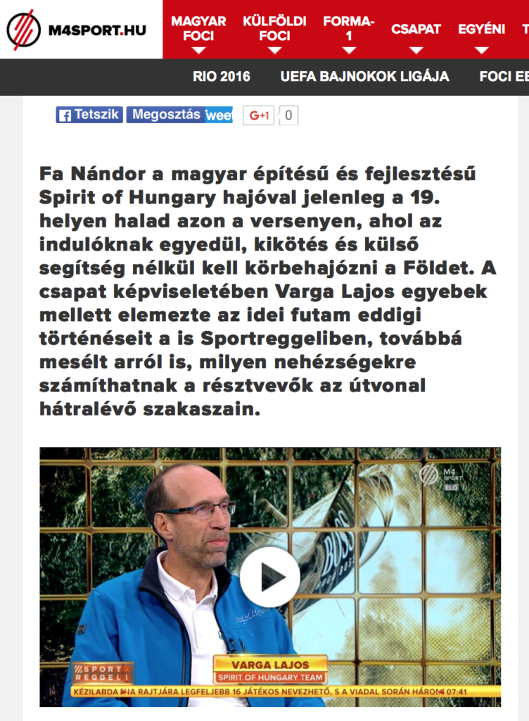 M4 SPORT TV - ma reggeli adás - Vendéeg Varga Lajos SOH csapattag